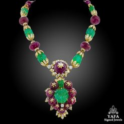 VAN CLEEF & ARPELS India Motif Emerald Sautoir Convertible Suite