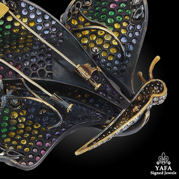 Diamond Sapphire Multicolor Pave Butterfly Brooch