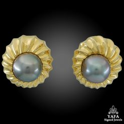 Tahitian Pearl Reeded Sea Swirl Earrings