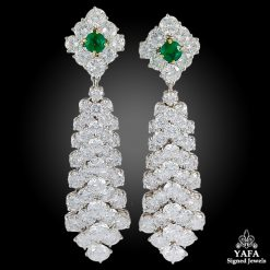 VAN CLEEF & ARPELS Diamond Emerald Detachable Chandelier Earrings