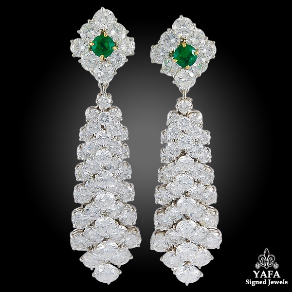 VAN CLEEF & ARPELS Diamond Emerald Chandelier Convertible Earrings