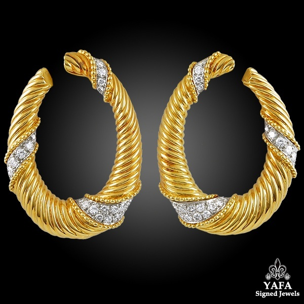 VAN CLEEF & ARPELS Reeded Twist Hoop Earrings
