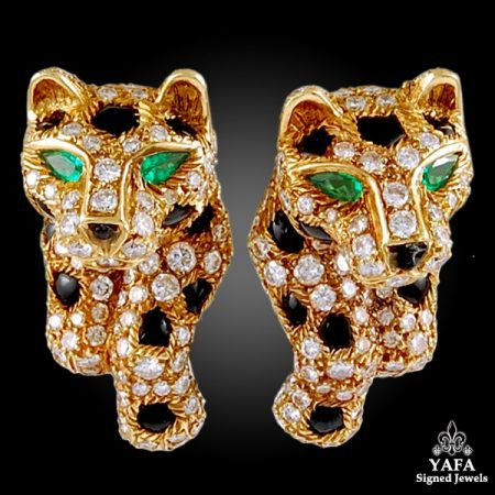 CARTIER Panthere Vintage Diamond Pave Earrings