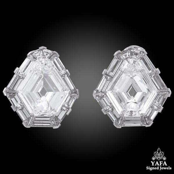 CARTIER Diamond Shield Halo Post Earrings