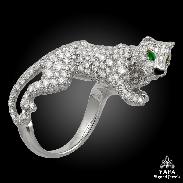 CARTIER Diamond Emerald Onyx Panther Ring