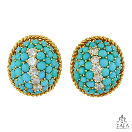 Retro-Style Turquoise Striped Dome Earrings