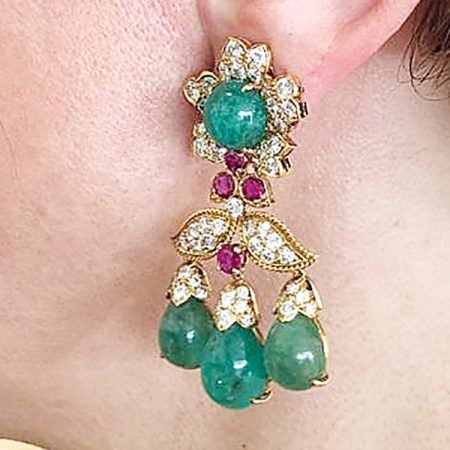 DAVID WEBB Emerald Diamond Ruby Chandelier Earrings