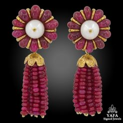 Ruby Pearl Detachable Tassel Earrings