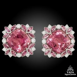 Contemporary Pink Tourmaline Diamond Earrings