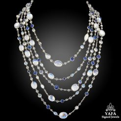 Contemporary Moonstone Sapphire Diamond Wrap Necklace