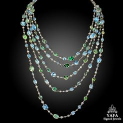 Contemporary Aquamarine Tourmaline Diamond Wrap Necklace