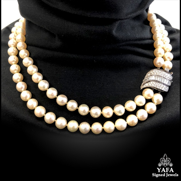 Double Strand Pearl Riviere Necklace