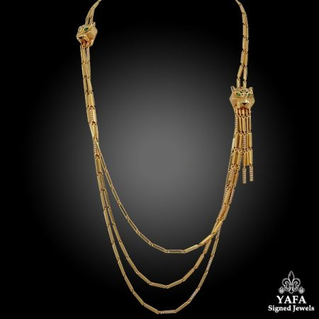 CARTIER Panthere Asymmetrical Tassel Necklace