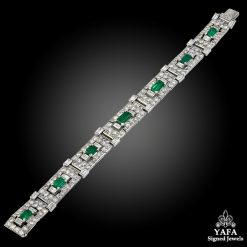 CARTIER Art Deco Emerald Diamond Articulated Bracelet
