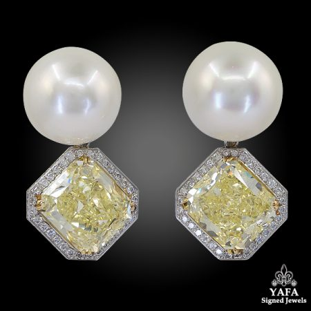 Fancy Yellow Diamond Pearl Detachable Boule Earrings