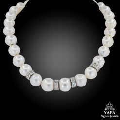 Pearl Diamond Rondelle Matinee Necklace