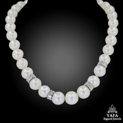 Pearl Diamond Rondelle Collar Necklace