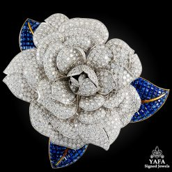 Diamond and sapphire flower brooch