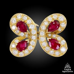 VAN CLEEF & ARPELS Diamond Ruby Butterfly Brooch