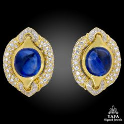 BULGARI Diamond, Cabochon Sapphire Earrings