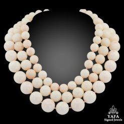 Three Strand White Coral Beads Necklace