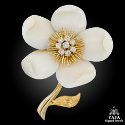 VAN CLEEF & ARPELS Diamond, White Coral Flower Brooch