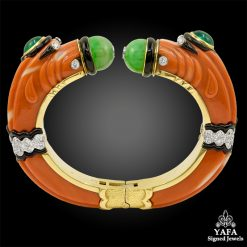DAVID WEBB Carved Coral, Jade, Emerald Chimera Bracelet