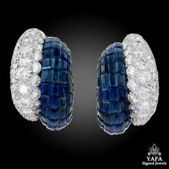 VAN CLEEF & ARPELS Diamond, Sapphire Mystery-set Earrings