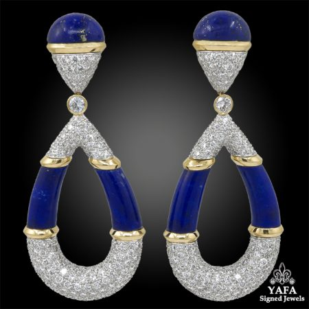 DAVID WEBB Diamond, Lapis Lazuli Earrings
