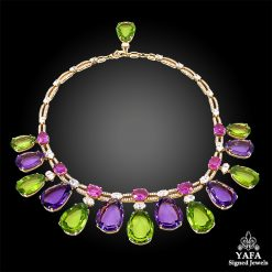 BULGARI Pear-Shaped Peridot, Pink Sapphire, Amethysts Necklace