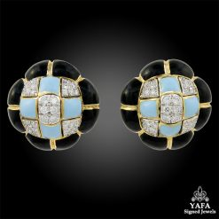 DAVID WEBB Turquoise, Diamond, Black Enamel Earrings