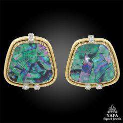 DAVID WEBB Abalone Shells, Diamond Earrings