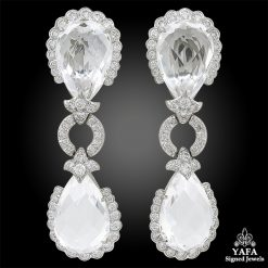 DAVID WEBB Diamond, Faceted Rock Crystal Earrings
