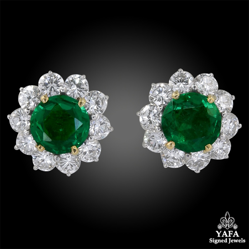 CARTIER Diamond, Emerald Earrings