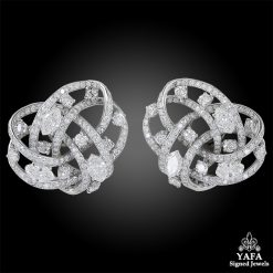 CARTIER Paris Diamond Knot Motif Earrings