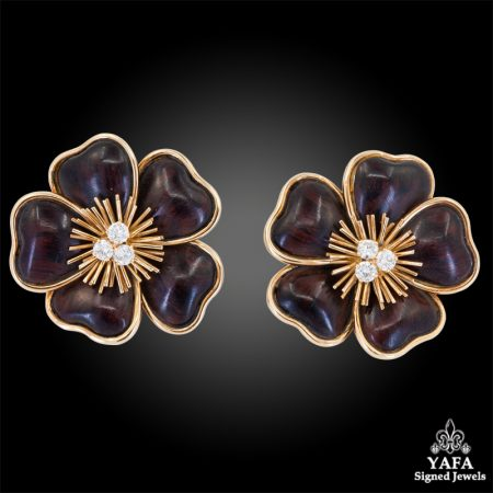 VAN CLEEF & ARPELS Diamond Wood Clematis Earrings