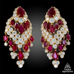 VAN CLEEF & ARPELS Ruby, Diamond Tassel Earrings