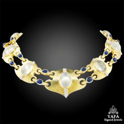 DAVID WEBB Cabochon Moonstone, Sapphire Diamond Necklace