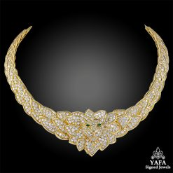VAN CLEEF & ARPELS Diamond, Emerald Lion Necklace