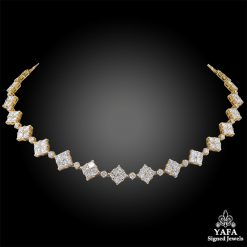 VAN CLEEF & ARPELS Diamond Square-Shaped Link Necklace