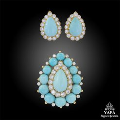 VAN CLEEF & ARPELS Diamond, Turquoise Earrings & Brooch