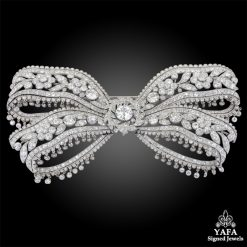 Edwardian Diamond Floral Bow Brooch