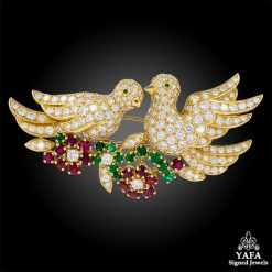 VAN CLEEF & ARPELS Diamond, Ruby, Emerald Love Birds Brooch