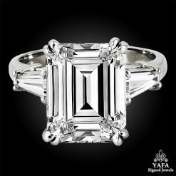 Platinum Emerald-Cut Engagement Ring