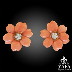 VAN CLEEF & ARPELS Diamond, Coral Flower Earrings