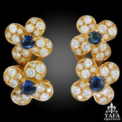 VAN CLEEF & ARPELS Diamond, Cabochon Sapphire Earrings