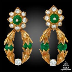 VAN CLEEF & ARPELS Diamond, Emerald Earrings