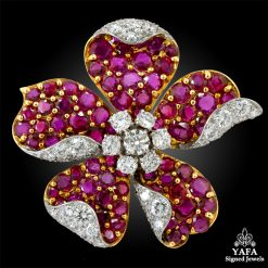 Two-Tone Diamond, Ruby Brooch