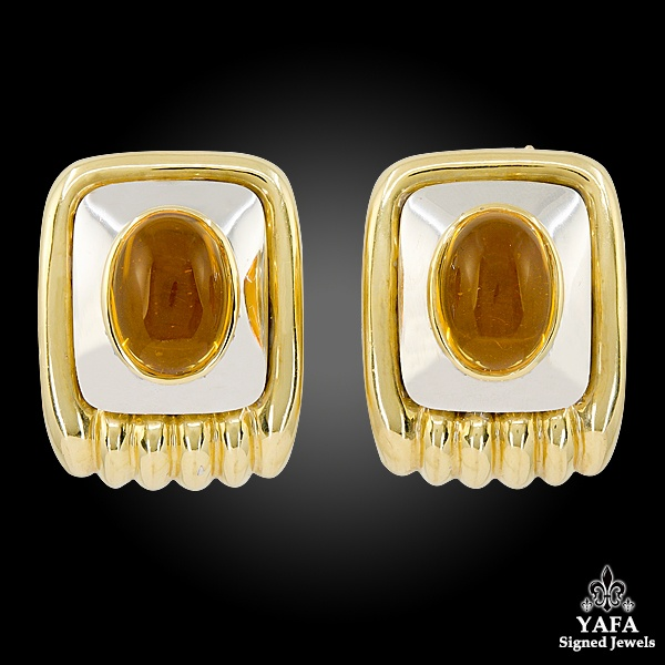 Cabochon Citrine Gold Earrings