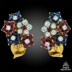 VAN CLEEF & ARPELS Diamond, Ruby, Sapphire Bouquet Flowers Earrings